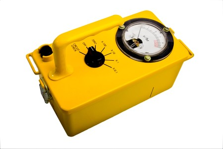 Yellow classic geiger counter isolated on white Stock fotó