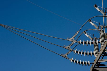Close up of insulated connection at a power substation Stock Photo