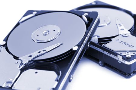 opened hard drives, blue version photo