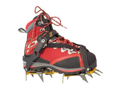 crampons: Trekking boot with crampons Stock Photo