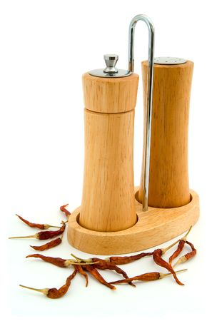 Salt and pepper, spice tray photo
