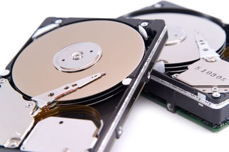 open hard drives, isolated on white background photo