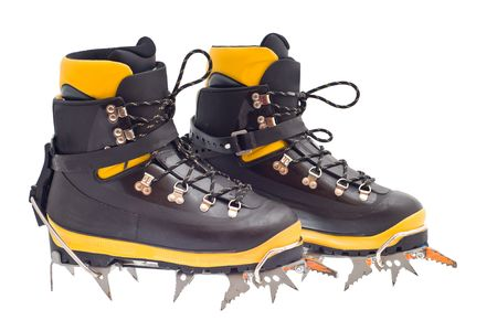 crampons: pair of the high mountain boots with crampons