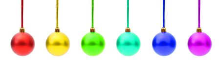 Various christmas baubles isolated on white background photo