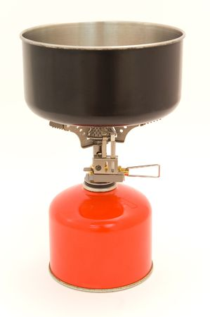 Gas cooker with bottle and mess tin. photo
