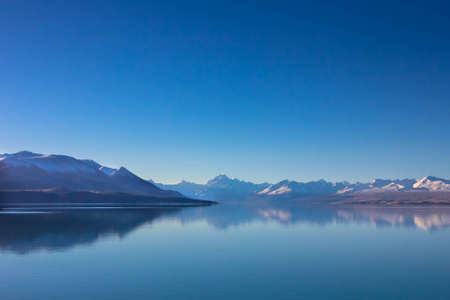 Panorama view of snow, mountain layer, ice and lake with reflect
