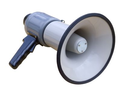 Old socialist megaphone over a white background photo