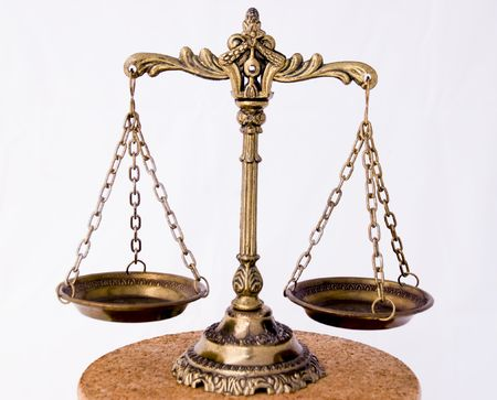 judicial: A photo of the scales of justice with a balance theme overlay Stock Photo
