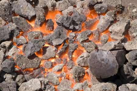 close-up shot of a furnace with hot flaming coal photo