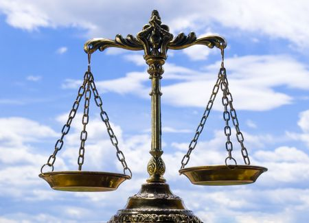 scales of justice: A photo of the scales of justice with a balance theme overlay Stock Photo