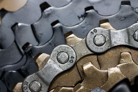 sprocket: Cassette bici posteriore con catena di close-up Archivio Fotografico