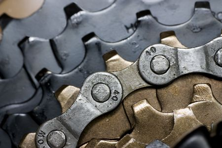 sprocket: Rear bike cassette with chain close-up Stock Photo