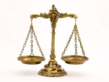 A photo of the scales of justice with a balance theme overlay Standard-Bild