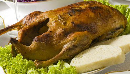 Roast duck with Dumplings on the table