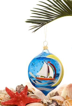 Christmas tree decoration with shells