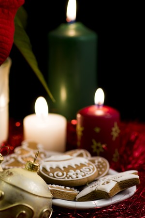 christmas motive: Christmas motive with gingerbread and candles