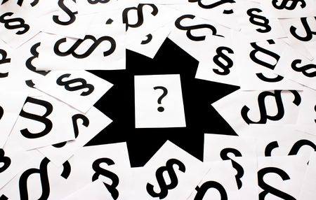 ordinances: Question mark between paragraphs -  concept hole in law Stock Photo