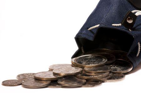 Tasche mit viel Silber-Münzen Standard-Bild - 4614673