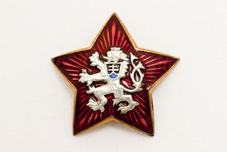 czechoslovakia: Old czechoslovakia national symbol in red star- about 1950