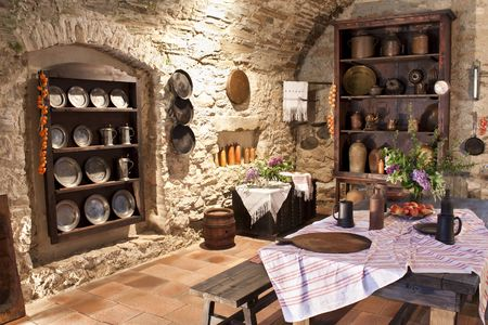 kitchen bench: Old kitchen of  castle, Slovakia