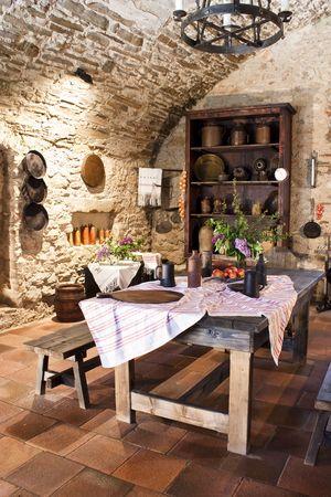 cocina antigua: Antigua cocina del castillo, Eslovaquia,
