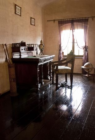 old desk: A  antiques  private office, table and accessories Stock Photo