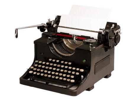 secretarial: Old vintage typewriter isolated on white background Stock Photo