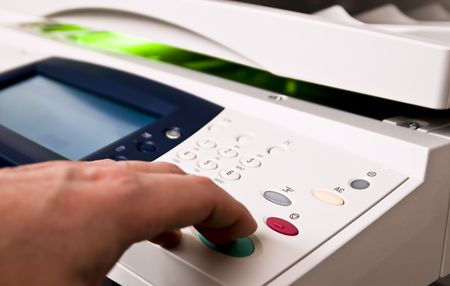 Close-up on a control panel of an office copier