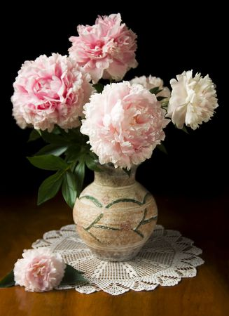 Still-life with pink peony in vase Standard-Bild
