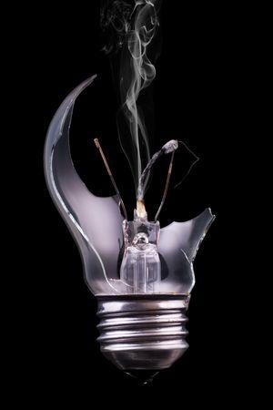 A broken lightbulb with a  match inside