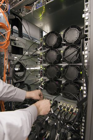 Rack of computer network equipment, rear view