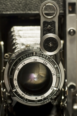 macro photography: the retro lens from an old camera Stock Photo