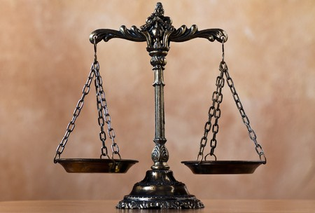 legitimacy: A photo of the scales of justice with a balance theme overlay Stock Photo