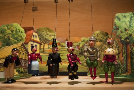 puppet theatre: Old wood marionettes Stock Photo
