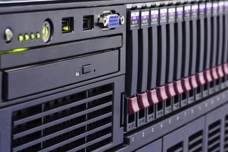 Rack of computer network equipment Standard-Bild