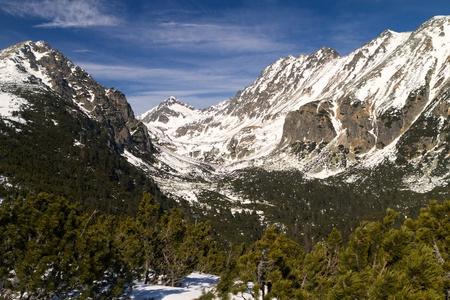 Winter Season in winter Mountain valley photo