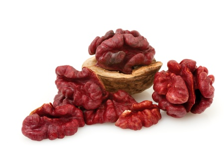 red skinned: Red Walnut on a white background
