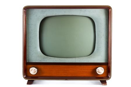 tv retro: 1960s old television on a white background Stock Photo