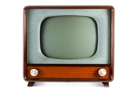 ver television: televisi�n antiguo de 1960 sobre un fondo blanco