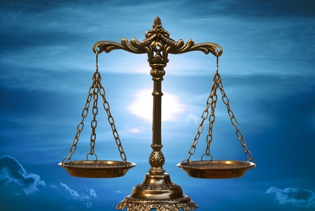law scale: A photo of the scales of justice with a balance theme overlay Stock Photo