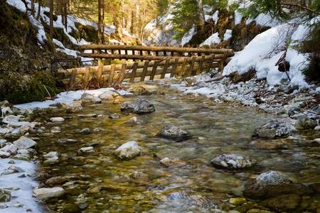 Winter scene of the White creek in  national park Slovak paradise, Slovak republic photo
