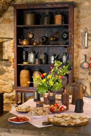 cocina antigua: Antigua cocina de castillo, Eslovaquia