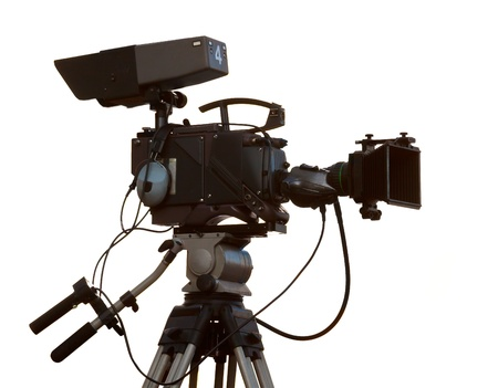 tripod: TV Professional studio digital video camera isolated over white background