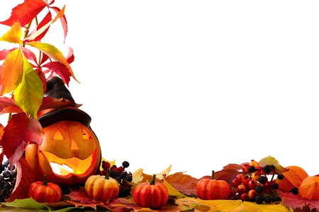 halloween background: Fall leaves with pumpkin on white background
