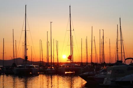 Marina with docked yachts at the sunset photo
