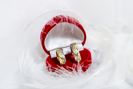 Pair of wedding rings in a gift box on white background photo