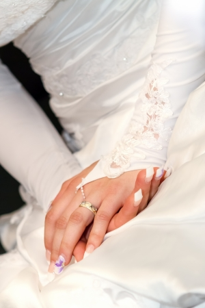 Wedding Day Bride  hands With Rings photo