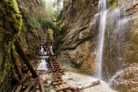 slovak: Mountain stream with ladder in canyon