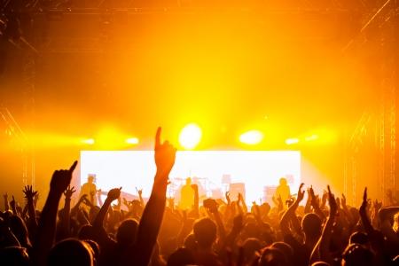 rock concert: Un concierto de rock, siluetas de personas felices