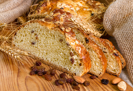 traditon: Detail of christmas cake with almonds and wheat